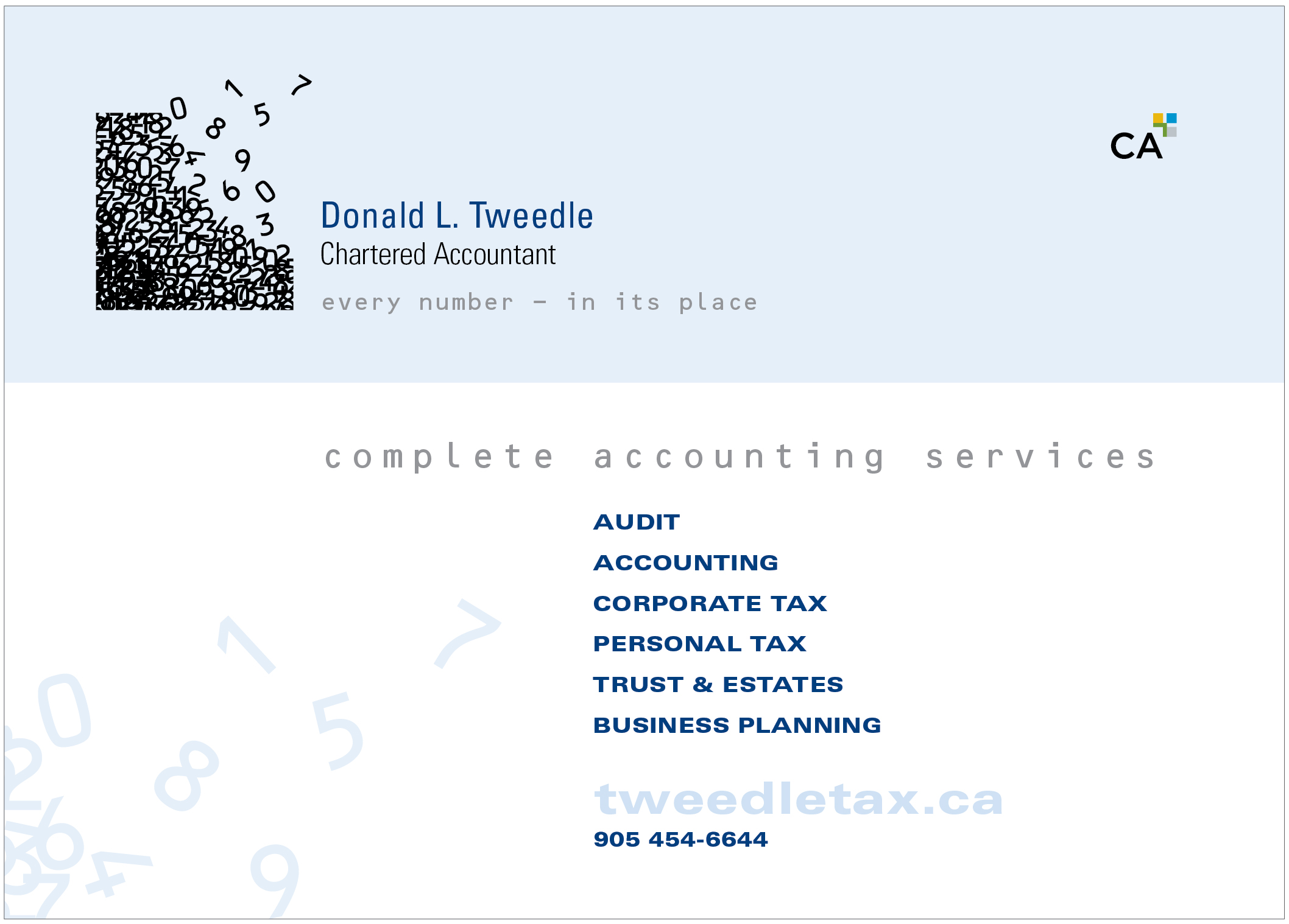 Tweedle Tax Ad Card